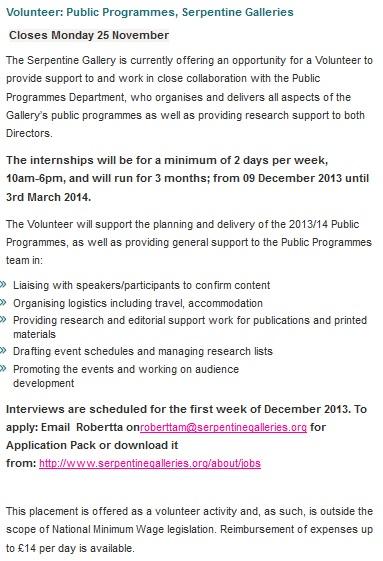 Serpentine Galleries' job advert for public programme volunteers